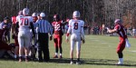 Marc Gaudette (right) shows the evidence of his fumble recovery
