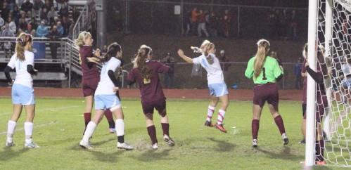 Emily Gorrivan jumps realizing her shot has gone in