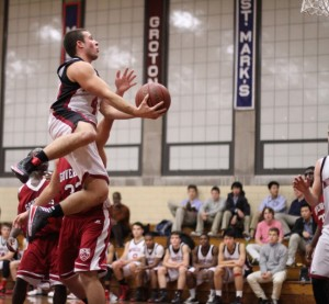 Aaron Swenson flies to the hoop for Middlesex