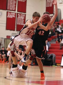 Ryan Fitzpatrick hurdles a teammate