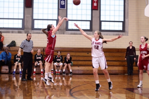 Katie Barrand hits one of three early 3-point shots by the Govs