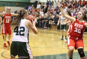 Riley Holden faces defender Stephanie Mini in the closing seconds