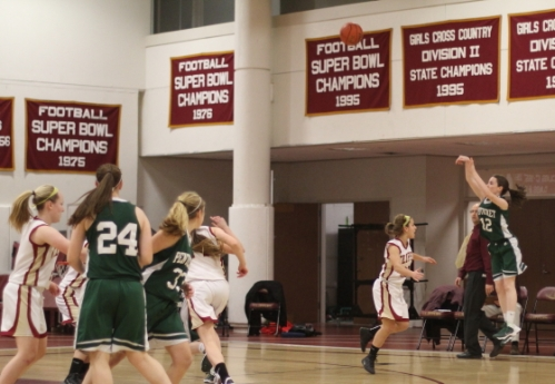 Kelsi McNamara (27 points) launches a three.  She made five in the game.