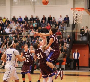 Aaron Croce goes for the block