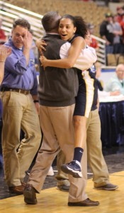 Spartans coach Jeff Newhall with Brianna Rudolph afterwards