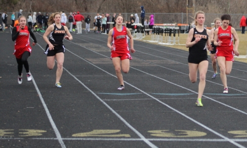 Michaela Hedderman wins the 100.  The IHS sophomore also won the 200.
