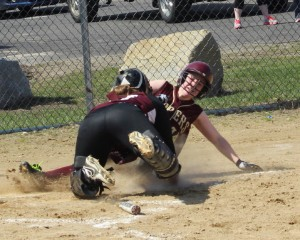 Amy Sullivan tagged out at the plate by Carly Rennie