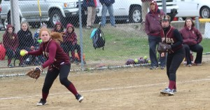 Shelby OBrien sets to throw to first