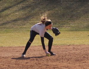 freshman Chloe Quigley fields a grounder