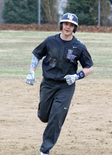 Austin Michel is in the home run trot after a long blast in the 8th inning