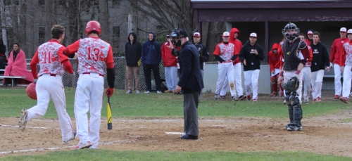 Tom Budrewicz (#11) heads home with second Masco run on Scott Webster balk