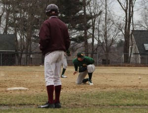 Grounder gets by NR first baseman Ryan Sanborn