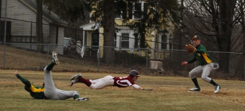 Shane Driscoll flips from the ground to double up sliding Ryan Furlong