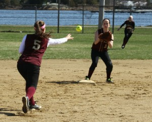 Meghan Stanton flips to second baseman Molly Kelley