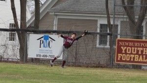 Rightfielder Josh Proposki catches a deep fly