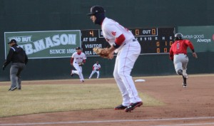 Corey Wimberly of New Britain steals second