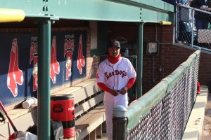 Mookie Betts in the Sea Dogs dugout