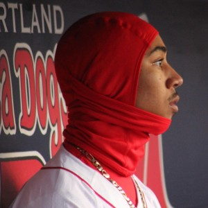 Mookie Betts keeps warm