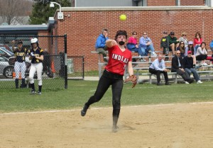 Pitcher Rachel Cyr gets one of her seven assists.