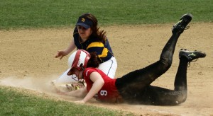 Rachel Cyr gets back to third as Katie Terban applies the tag