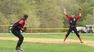 First baseman Pat Scanlon gives pitcher Levi Burrill a big target