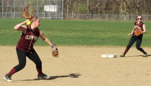 Shelby OBrien was flawless in the field and started a double play