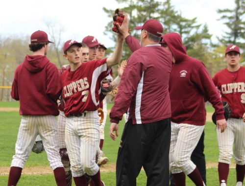 Scott Webster congratulated after recording the final out