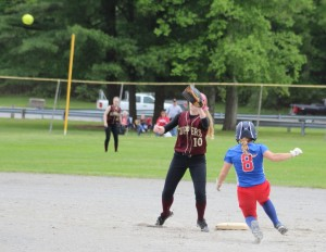 Brooke Hardy steals second as Morgan Johnston waits for the throw