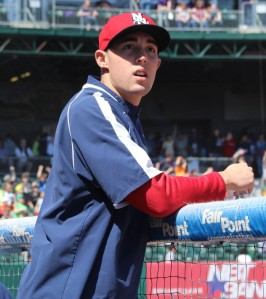 Aaron Sanchez views the action from the Fisher Cats dugout