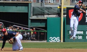 Kevin Nolan (SS) jumps and throws