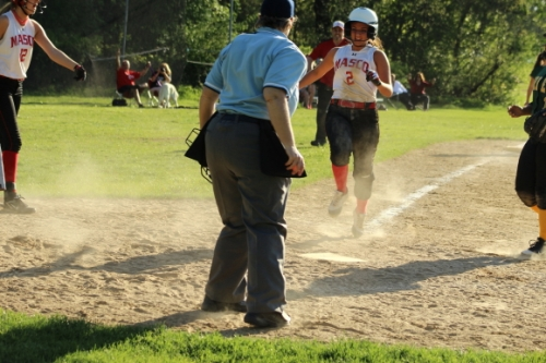 Jordan Murray about to score the winning run on a wild pitch