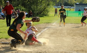 Tayla Murray slides across with the tying run in the 7th inning