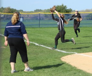 Pentucket shortstop Kassidy Kennefick chases down a foul popup