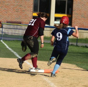 Kayla Parisi beats Shannon Lyons to first for the final out of the game