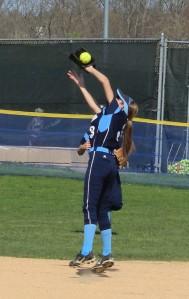 Second baseman Kylie Gilroy makes a nice catch