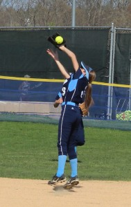 Second baseman Kylie Gilroy makes a nice catch