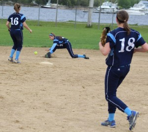 Infield grounder gets by second baseman Kylie Gilroy