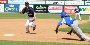 Jesse Caisse looks to tag Colby Ingraham