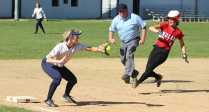 Deanna Desmond ready to tag out Meg Aponas