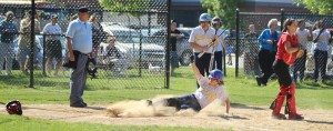 Kendall Liggett slides across with the first NDA run