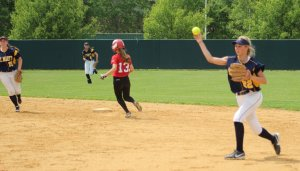 Second baseman Jen Mucciarone gets an assist on the final out of the game