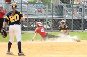 Meg Aponas slides back into third as Mollie Mello takes the throw