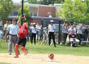 Catcher Amanda Schell settles under the game-ending popup