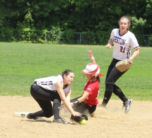 Amanda Schell steals second base