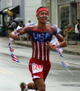 Tony Bumatay: One of many runners showing the US colors