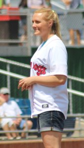 Olympian Julia Clukey threw out the first pitch