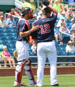 Blake Swihart consoles starter Mike Augliera after home run pitch