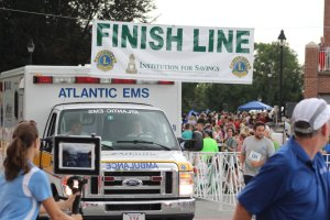 ambulance crosses the finish line