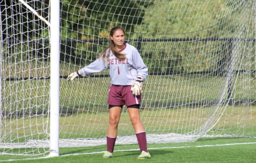 Bethel goalkeeper Sophia Corbo shut out Newtown in a very busy first half