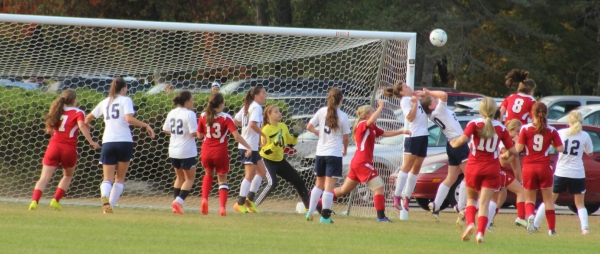 Emma Woods (#8) redirects the game-winner for Gray-New Gloucester with 3.5 seconds left